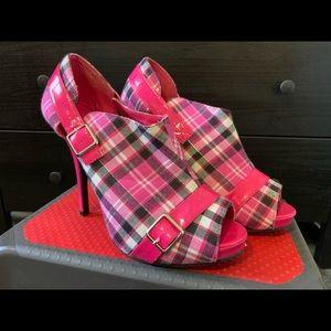 Pink plaid heels